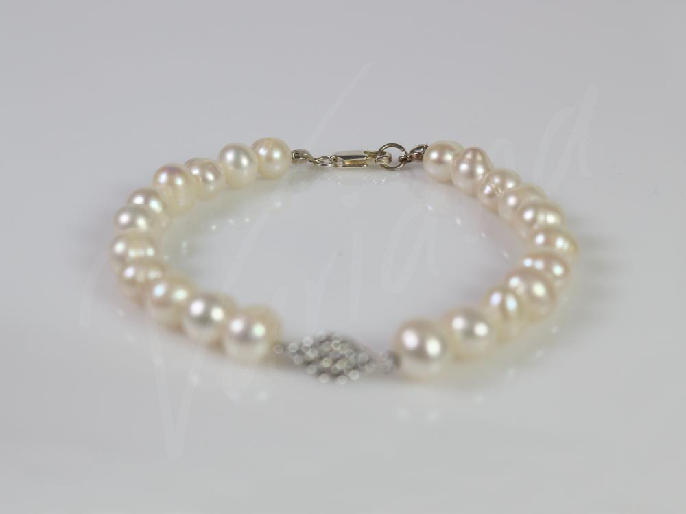 Bratara perle si romb cu zirconii